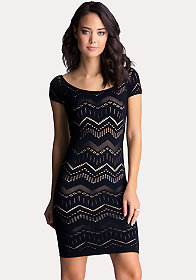 bebe Multi Chevron Stitch Bodycon Dress