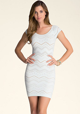 Chevron Stitch Bodycon Dress at bebe