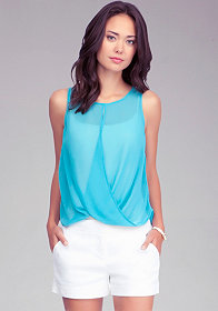 Crisscross Drape Tank at bebe