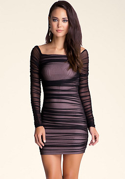 bebe Off Shoulder Shirred Mesh Dress