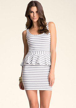 bebe Striped Peplum Dress