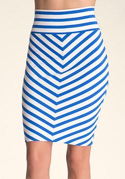 bebe Mitered Stripe Midi Knit Skirt