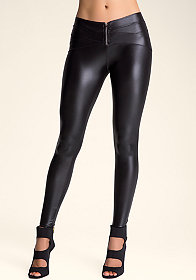 Zipper Front Wet Leggings at bebe