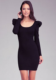 bebe Long Sleeve Cross Back Dress
