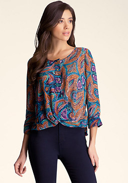 bebe Sheer Twist Blouse