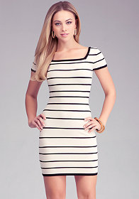 bebe Cap Sleeve Stripe Dress