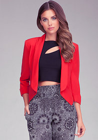 Shawl Collar Crop Jacket at bebe