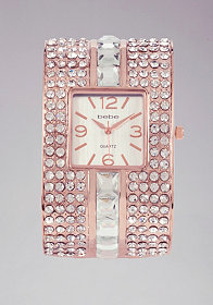 bebe Multi Rhinestone Cuff Watch