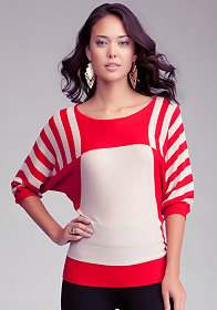 bebe Striped Asymmetric Dolman Sweater