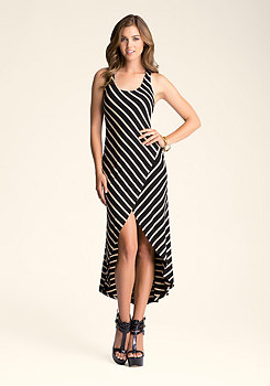 Stripe Tulip High Low Dress at bebe