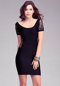 bebe Side Detail Mesh Stitch Dress