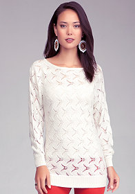 bebe Pointelle Dolman Tunic Sweater