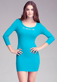 Logo Skinny Rib Dress -ONLINE EXCLUSIVE at bebe