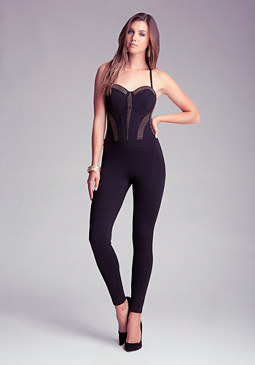 Studded Panel Jumpsuit at bebe