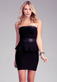 bebe Peplum Tube Bandage Dress