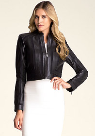 bebe Leather & Mesh Moto Jacket