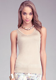 bebe Sheer Metallic Tank