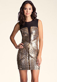 bebe Geometric Sequin Blocked Dress