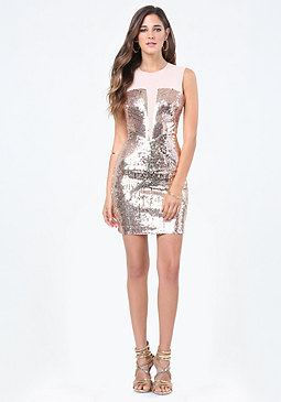 Mesh & Sequin Dress at bebe
