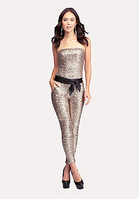 Strapless Sequin Jumpsuit at bebe