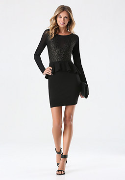bebe Lace Trim Sheer Ponte Dress