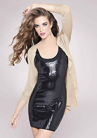bebe Allover Sequin U-Neck Bandage Dress