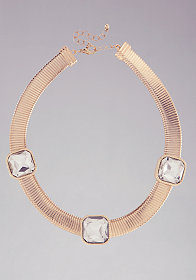 bebe Short Coil Stone Necklace