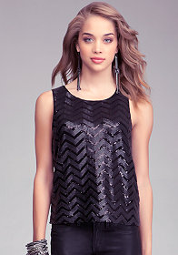 bebe Faux Leather & Sequin Tank