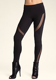 Curved Mesh Inset Legging at bebe
