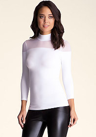 bebe Sheer Shoulder Turtleneck Top