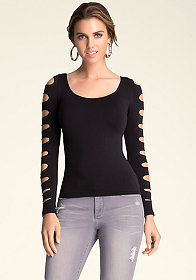 bebe Long Slash Sleeve Top