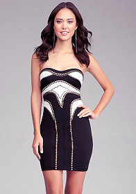 bebe Studded Strapless Dress
