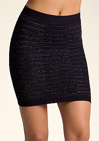 bebe Metallic Yarn Pleated Skirt