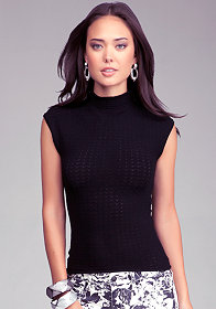 bebe Keyhole Pointelle Sweater