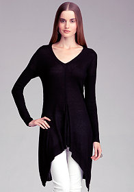 bebe Cascade Hem V-Neck Sweater Tunic