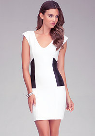 bebe Mixed Fabric V-Neck Dress