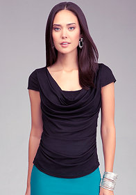 bebe Double Front Ruched Back Top