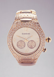 Round Rhinestone Tank Watch  - ONLINE EXCLUSIVE at bebe