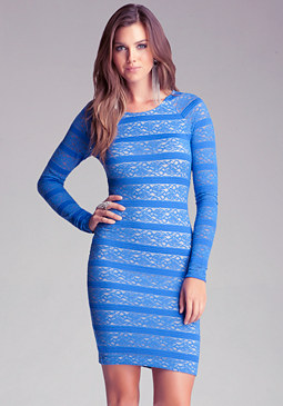 bebe Pencil Stripe Lace Dress