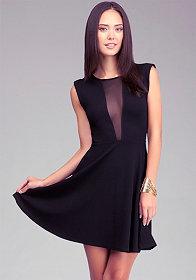 bebe Fit & Flare Sheer Back Dress