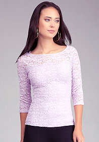 bebe Lace 3/4 Sleeve Top