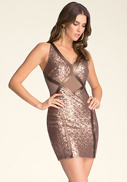 bebe Sequin Mesh V-Neck Dress