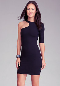 Cutout One Sleeve Dress at bebe