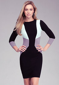 bebe 3/4 Crew Neck Colorblock Dress