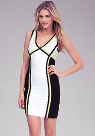 bebe Colorblock Super Bandage Dress