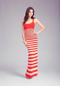 Racer Stripe Maxi Dress at bebe