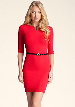 Belted Sweater Dress at bebe