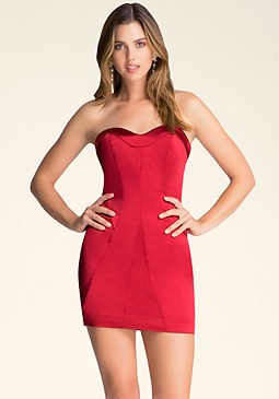 Seamed Strapless Dress at bebe