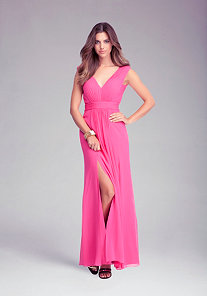 Slit V-Neck Gown at bebe