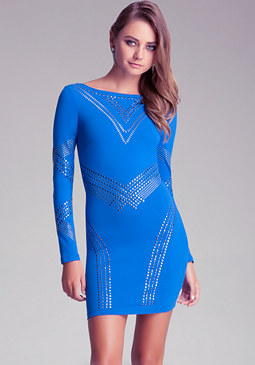 bebe Boatneck Studded Dress
